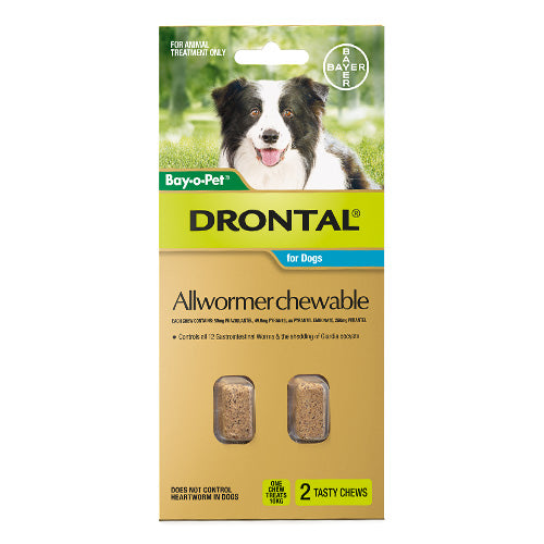 Drontal Dog Allwormer Chewable Medium 10kg 2 Pack