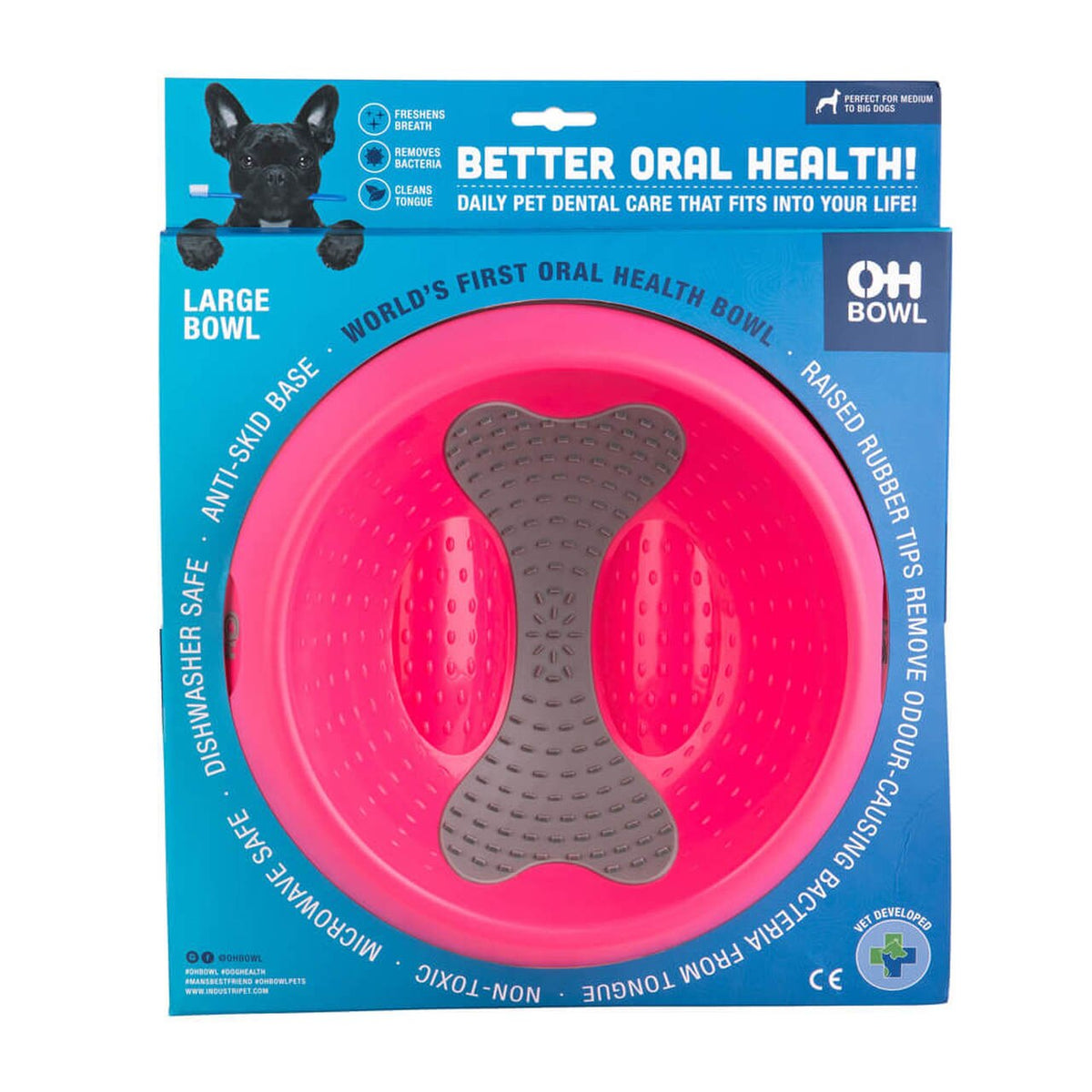 OH BOWL Oral Hygiene Dog Bowl Magenta Large