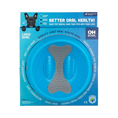 Oh Bowl Oral Hygiene Dog Bowl Large Cyan