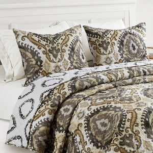 Ainsley Boho Reversible Antimicrobial, Ultra-Soft Quilt Set, Grey/Linen
