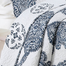 Load image into Gallery viewer, Bentley Batik Antimicrobial, Reversible, Ultra-Soft Quilt Set - Navy/White