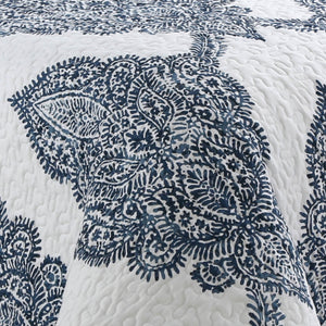 Bentley Batik Antimicrobial, Reversible, Ultra-Soft Quilt Set - Navy/White