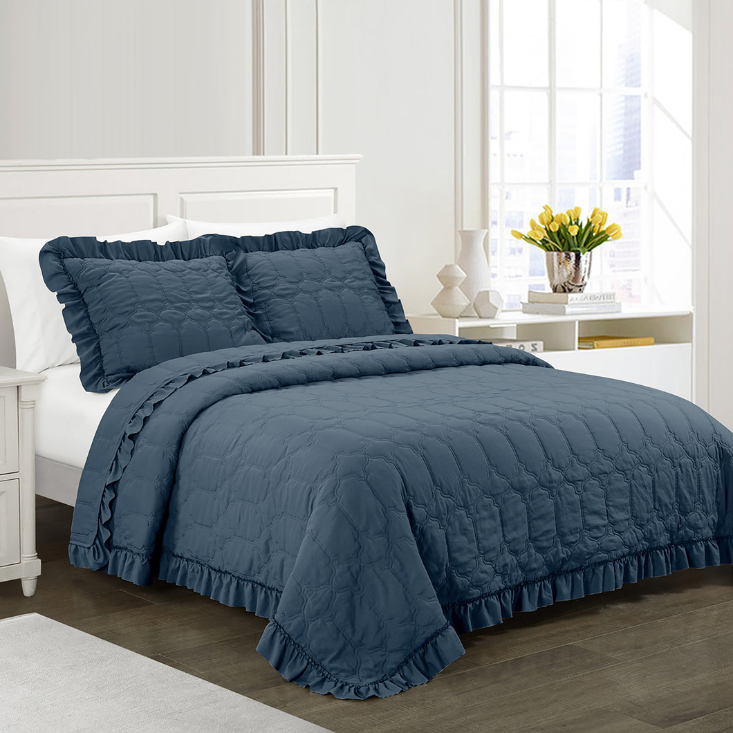 Freya Antimicrobial, Ultra-Soft, Easy Care, 3 piece Quilt/Coverlet Set - Indigo Blue