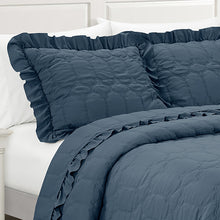 Load image into Gallery viewer, Freya Antimicrobial, Ultra-Soft, Easy Care, 3 piece Quilt/Coverlet Set - Indigo Blue