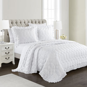 Freya Antimicrobial, Ultra-Soft, Easy Care 3pc Quilt/Coverlet Set - White