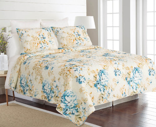 Francesca Crinkle Textured, Ultra Soft, Anti-Microbial Quilt Set