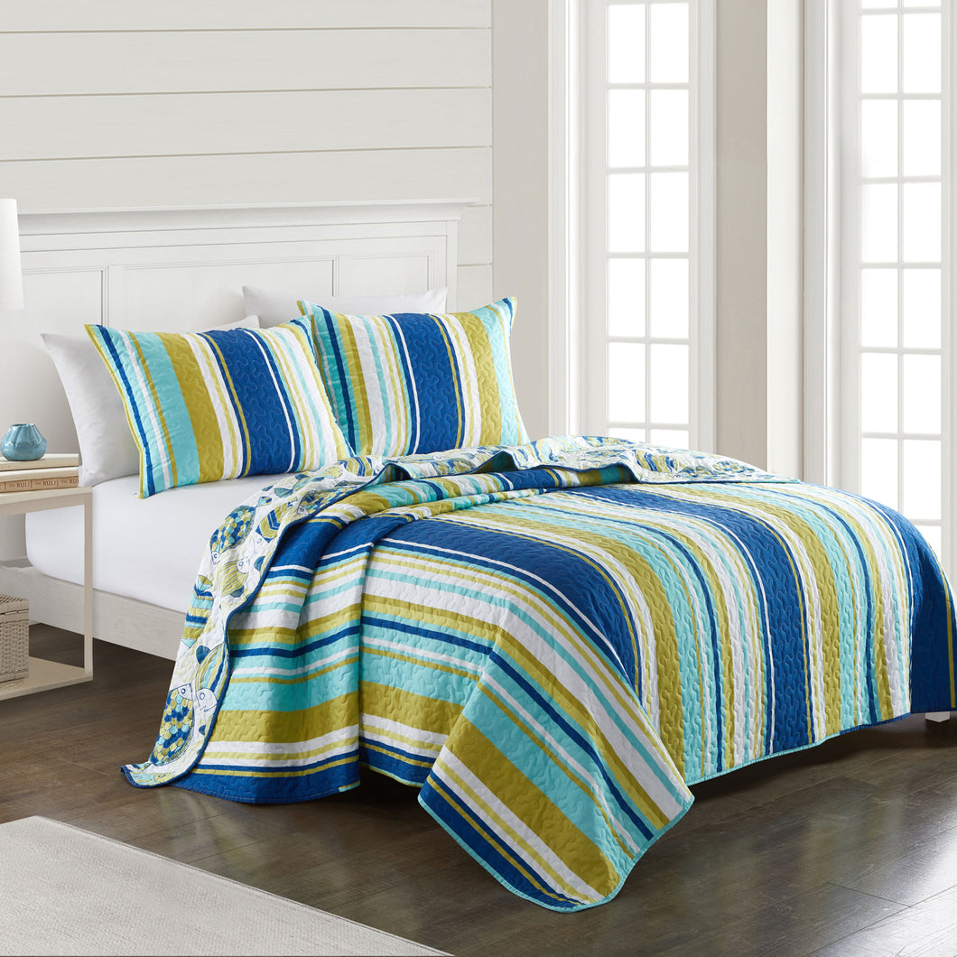 San Juan Microfiber Reversible Nautical Stripe Quilt Set