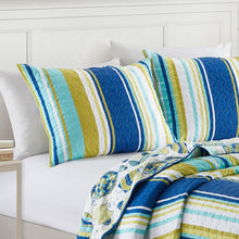 Load image into Gallery viewer, San Juan Microfiber Reversible Nautical Stripe Quilt Set