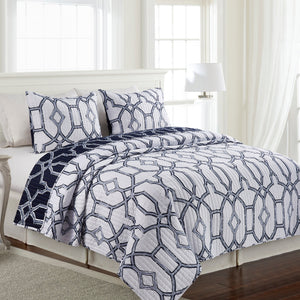 Tilly Microfiber Quilt Set - Navy