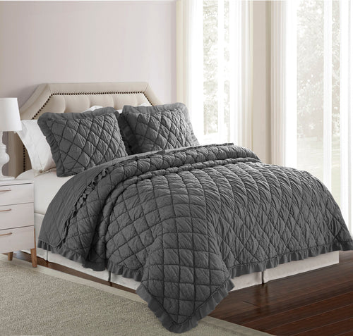 Elettra Microfiber Quilt Set - Grey - Elise and James Home