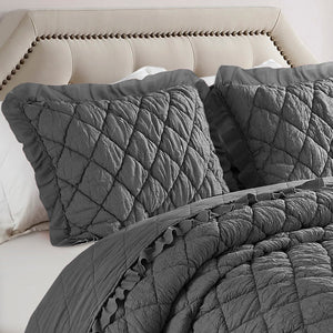 Devon Antimicrobial, Ultra-Soft, Easy Care Solid 3pc Quilt/Coverlet Set - Grey