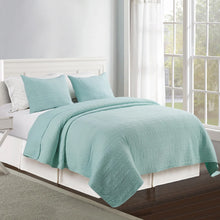 Load image into Gallery viewer, Wells Microfiber Quilt Set - Aqua