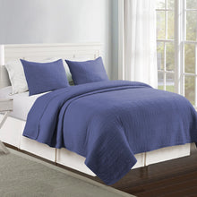 Load image into Gallery viewer, Wells Microfiber Quilt Set - Blue/Indigo
