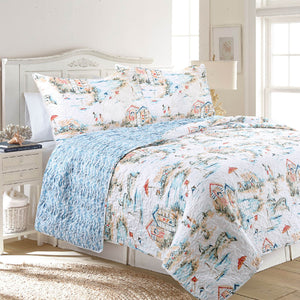 Beach Club Antimicrobial, Reversible, Ultra-Soft Coastal Quilt Set