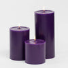"Richland Pillar Candles 4""x4"", 4""x6"" & 4""x9"" Purple Set of 3"