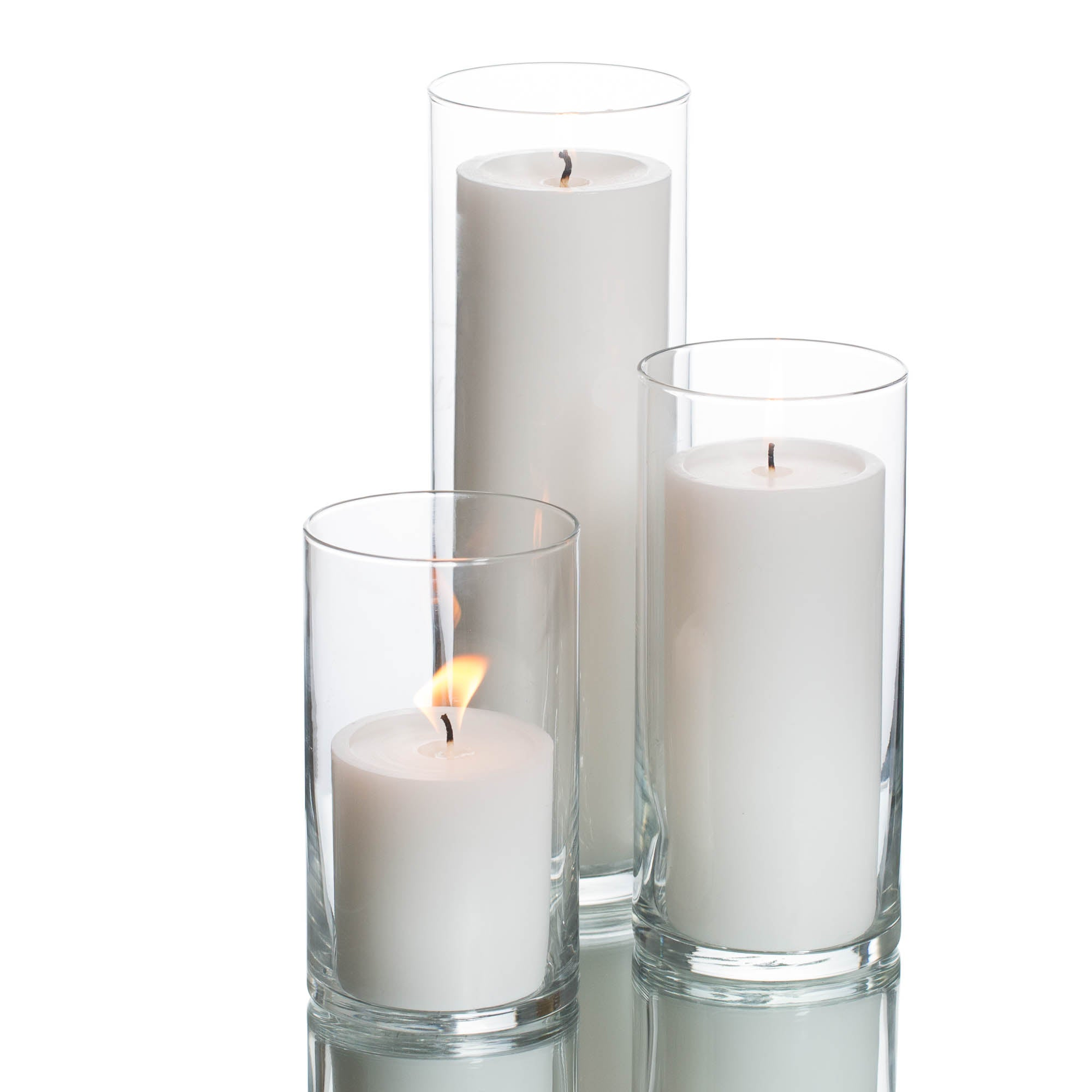 Eastland Cylinder Vases & Richland Pillar Candles Set of 3