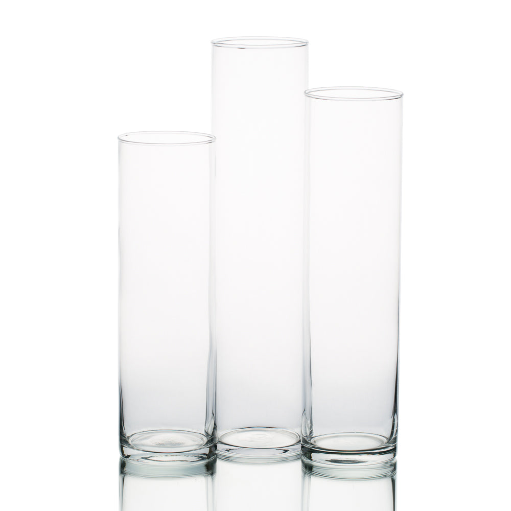 "Eastland Tall Cylinder Vase Set of 3 - 13"", 15"", 17"""