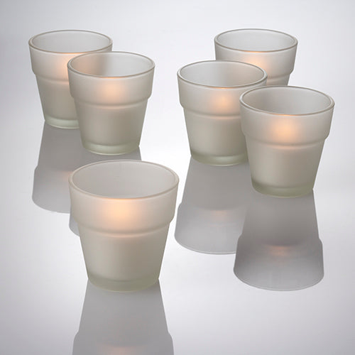 Eastland Frosted Flower Pot Votive Holders