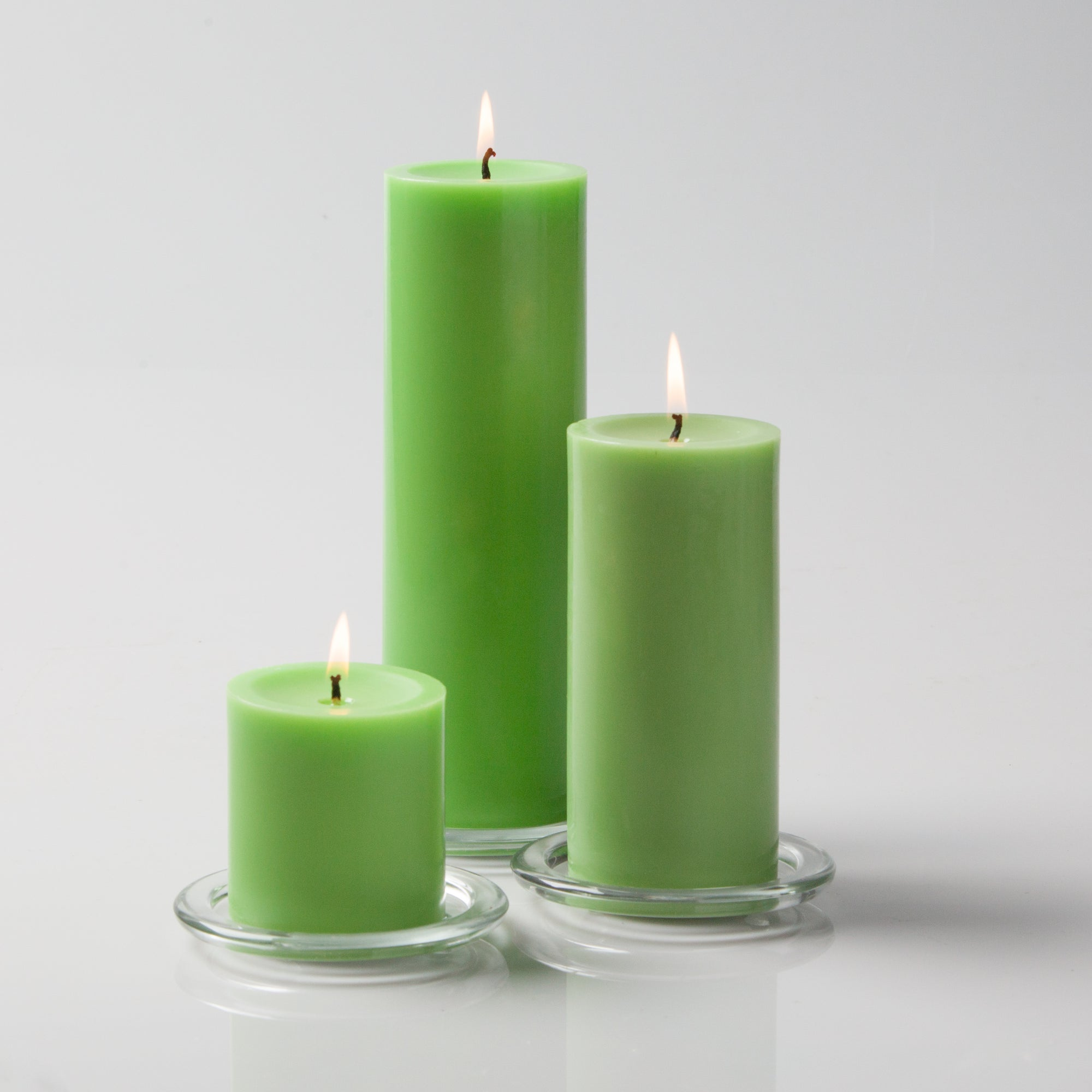 "Richland Church Pillar Candles 3""x3"", 3""x6"", & 3""x9"" Green Set of 12"