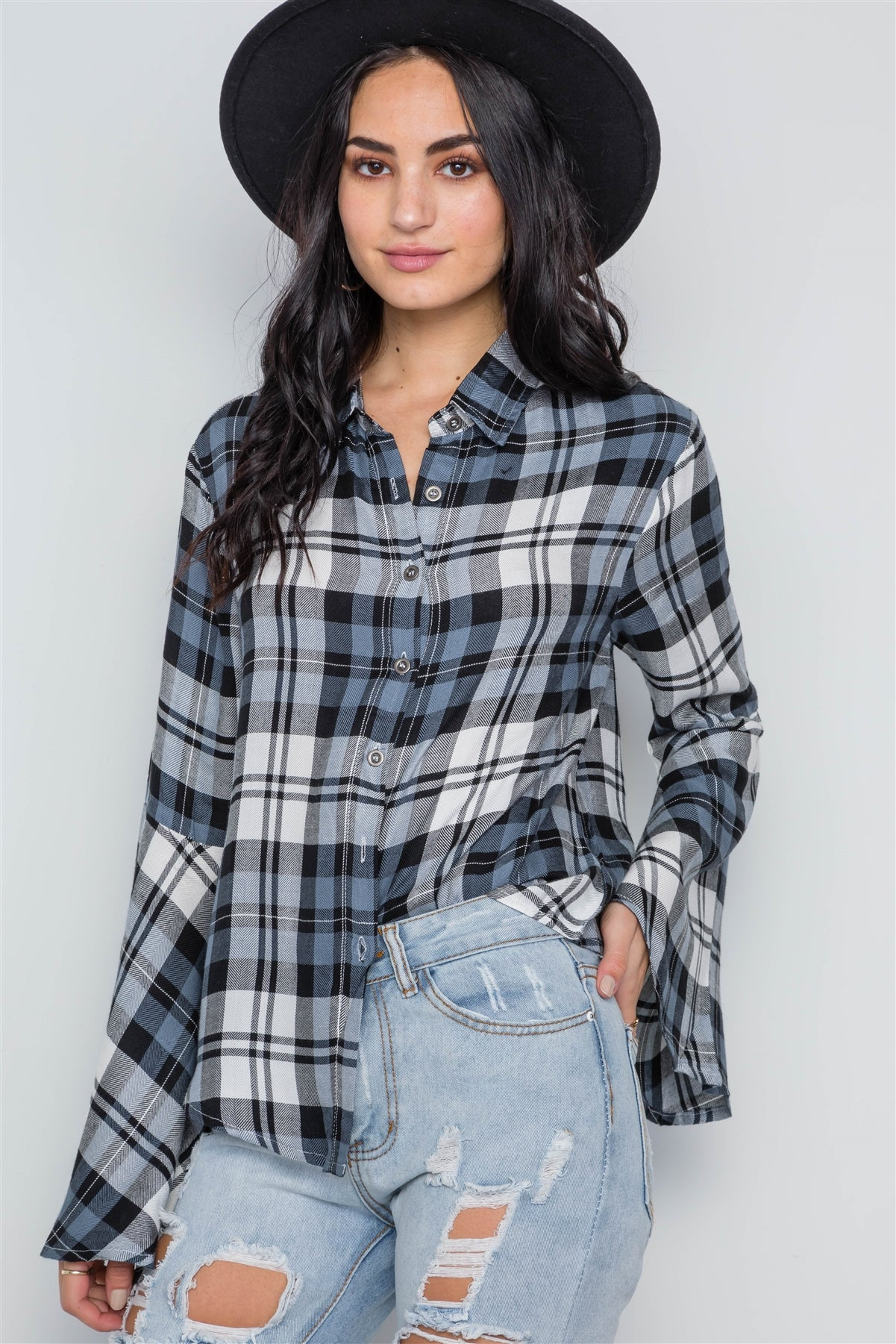 blue Plaid Button Down Bell Sleeve Top
