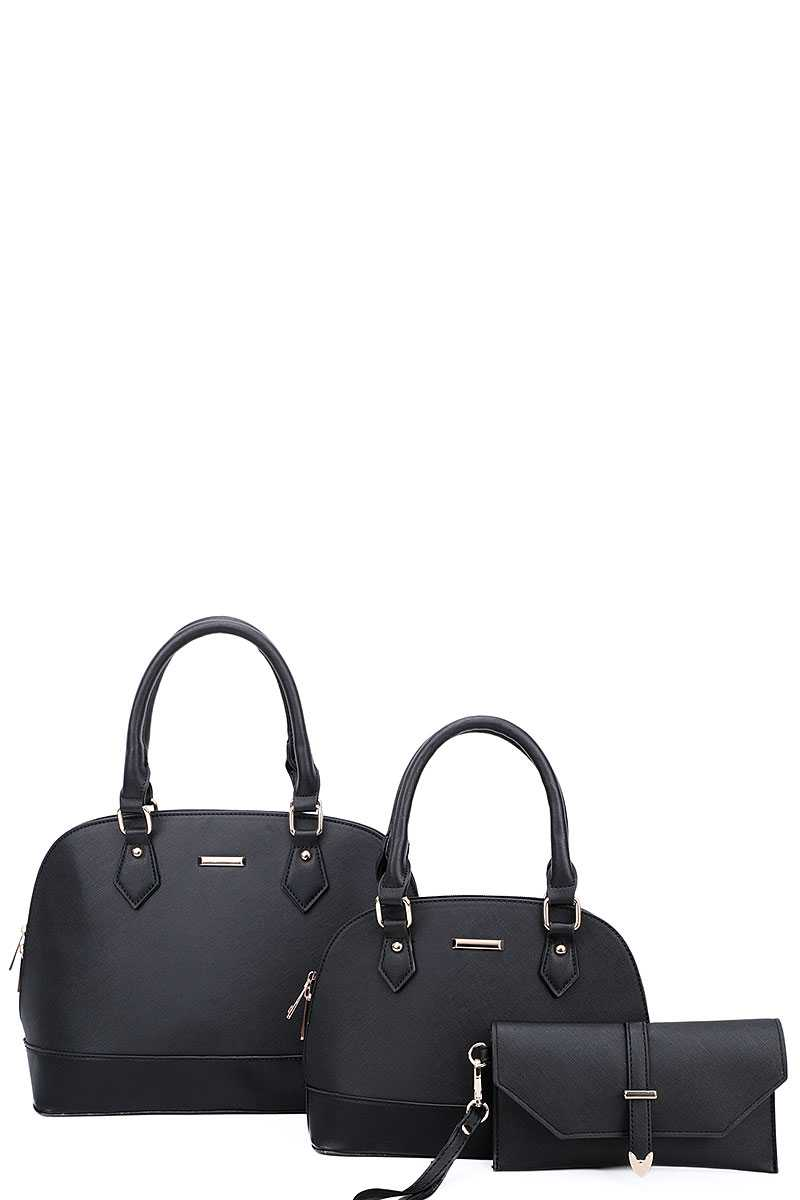 3in1 2 Domed Satchel Bags And Clutch Set