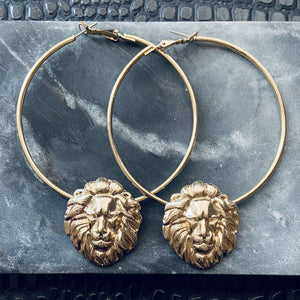 XLG Leo Lion Hoop Earrings