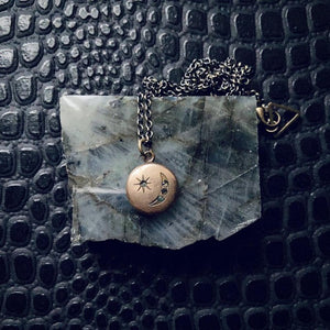Antique Moon & Star Charm Necklace