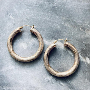 Textured Gold Filled Hoop Earrings