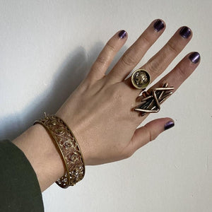 Wide Brass Filigree Bangle