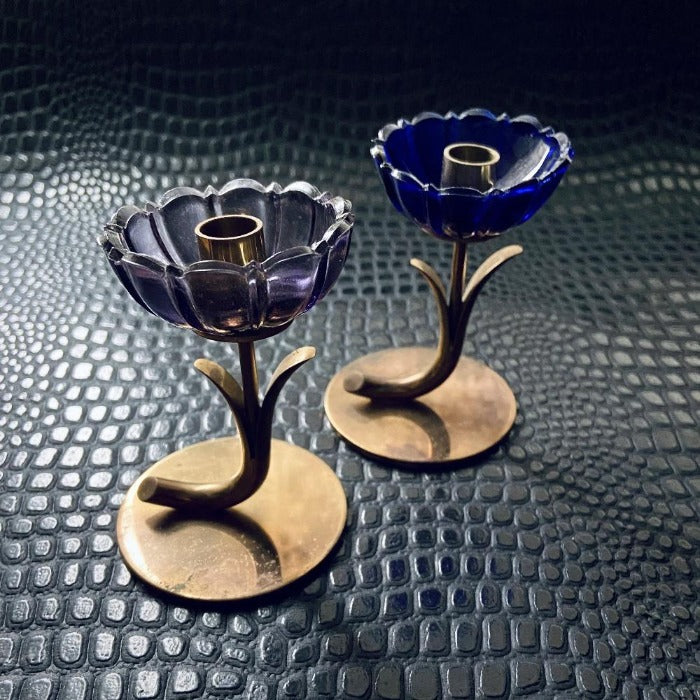 Pair of Floral Candle Holders