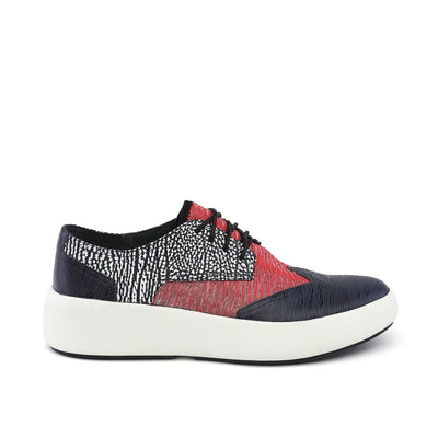bo geo mens navy + black and white mix + red out view