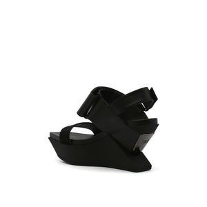 delta wedge sandal black angle in view