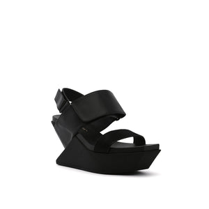 delta wedge sandal black angle out view