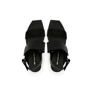 delta wedge sandal black top view