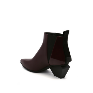 jacky tek bootie mid bordeaux angle in view