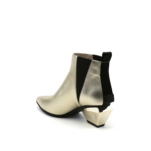 jacky tek bootie mid gold angle in view