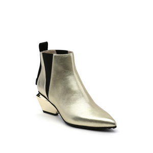 jacky tek bootie mid gold angle out view