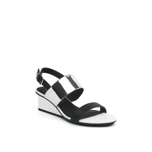 solid slingback mid black + silver angle out view