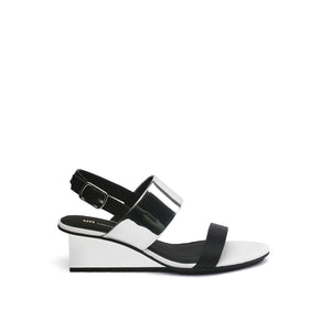solid slingback mid black + silver out view