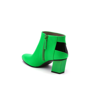 twist flow bootie neon green angle in