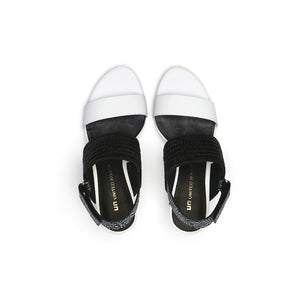 zink slingback mid white + black + black and white mix top view