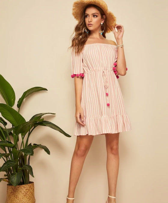 Drawstring Waist Pom Pom Detail Stripe Dress