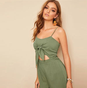 Army Green Knotted Front Shirred Back Cami Jumpsuit
