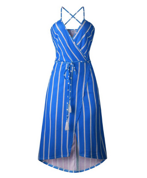 Blue Striped Sashes Sleeveless Deep V-Neck Bohemian Dress