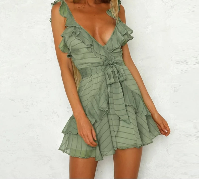 Deep V Neck Ruffle Sexy Dress