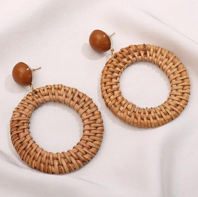 Bamboo Wooden Straw Geometric Circle Square Long Drop Earrings