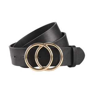 Gold Buckle Waist Leather Strap Belts