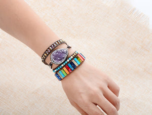 Multi Color Natural Stone Tube Beads Bracelet