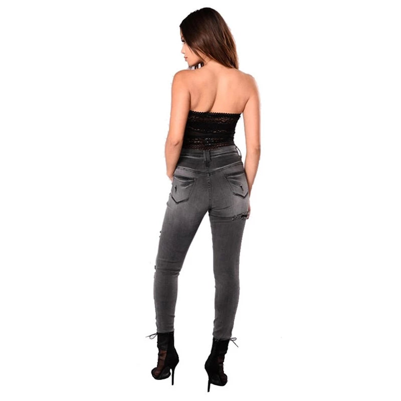 Grey Shredded High Waist Jeans