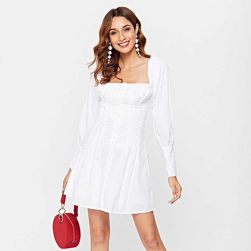 Sexy Off Shoulder White Tunic Dress